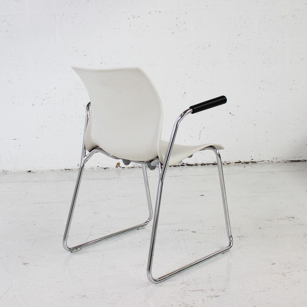 flex one folding chair sashes for rent stacking side with sled base   white in